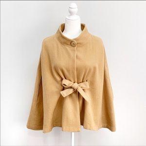 Ann Taylor Loft Tan Cape Wool Single Button Sz M/L